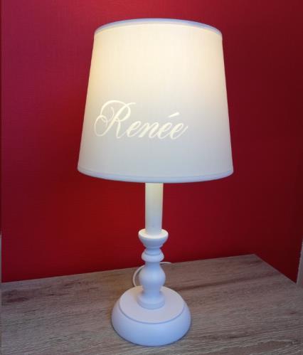 My Little Lamp - Classic Wit / Ivoren Kap / Lettertype Geboortekaart