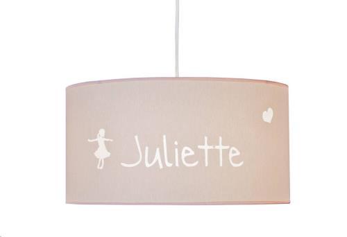 My Little Lamp - Hanglamp/ Roze Kap / Danseres / Lettertype Geboortekaart
