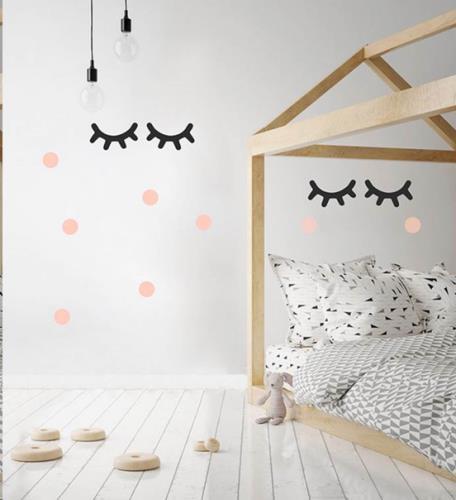 Pom Le Bonhomme - Muur Stickers Grote Wimpers Zwart En Roze O