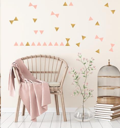 Pom Le Bonhomme - Muur Stickers Driehoekjes Goud En Poeder Roze H