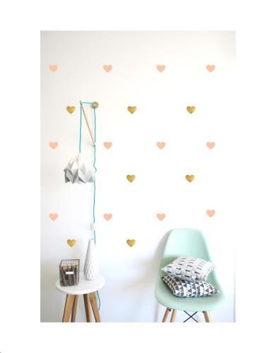 Pom Le Bonhomme - Muur Stickers Hartjes Goud En Roze H