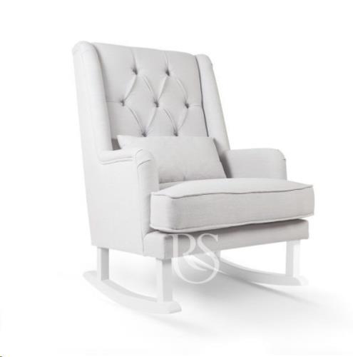 Rocking Seats - Schommelstoel Royal Rocker Silver Grey. White Legs