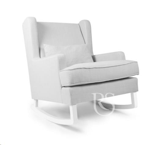 Rocking Seats - Schommelstoel Pearl Rocker Silver Grey. White Legs