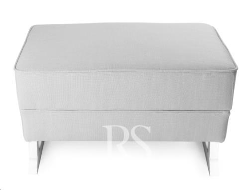 Rocking Seats - Royal Voetenbank Zonder Knopen Silver Grey. White Legs