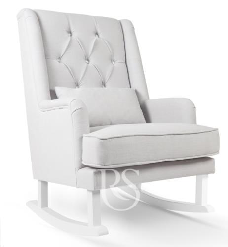 Rocking Seats - Schommelstoel Crystal Royal Rocker Silver Grey. White Legs