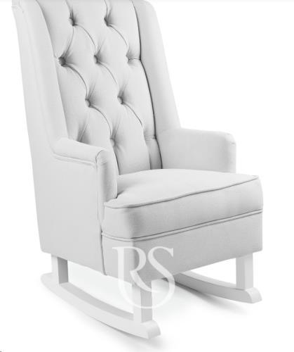 Rocking Seats - Kids Schommelstoel Royal Rocker Silver Grey. White Legs