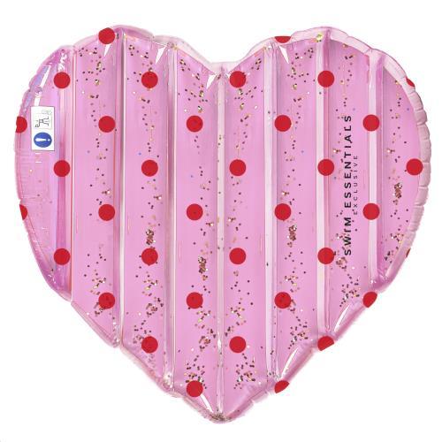 Swim Essentials - Luchtmatras Hart Roze Met Stippen 150 cm