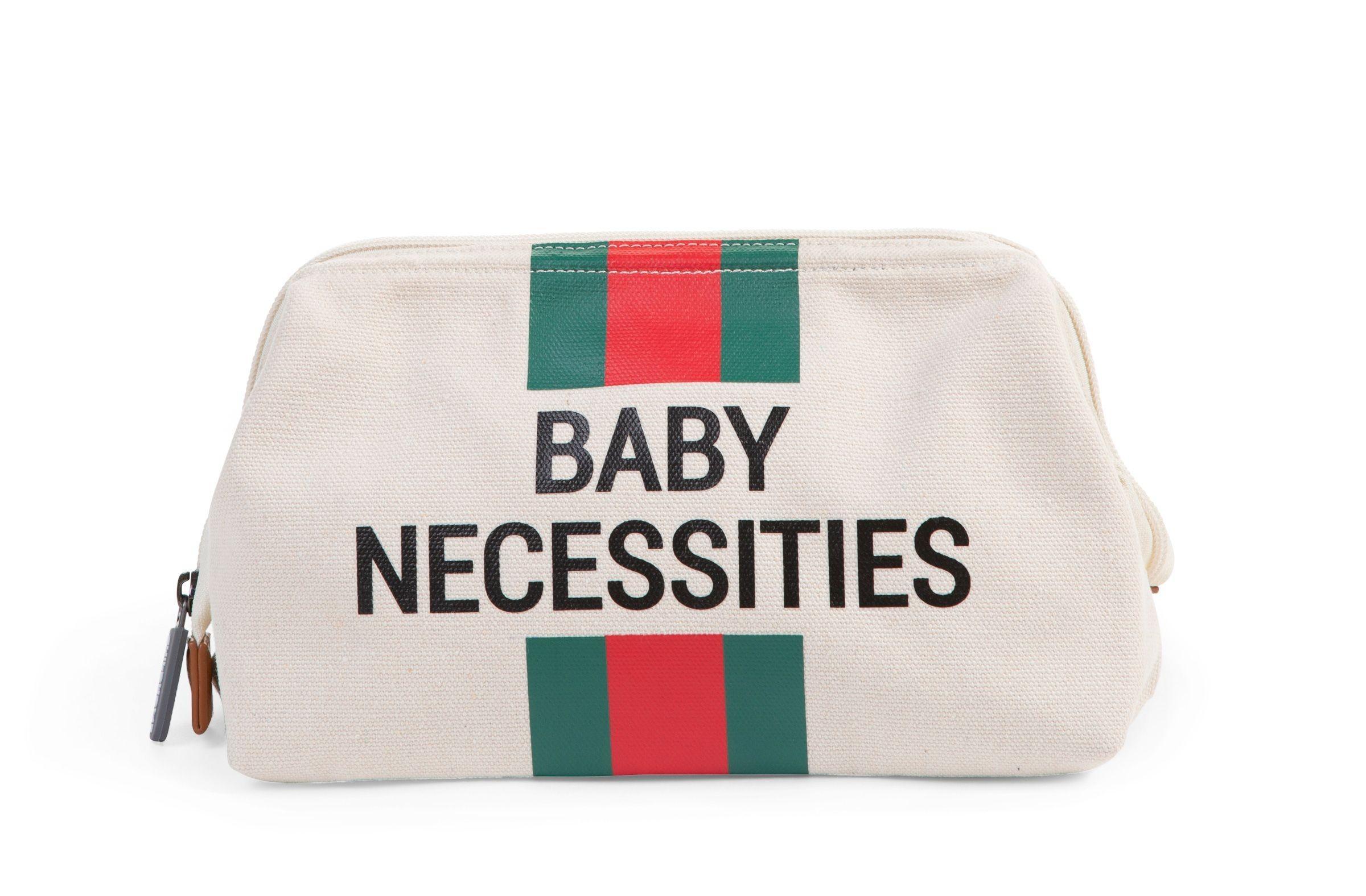 Childhome - Baby Necessities Canvas Ecru Strepen Groen/Rood