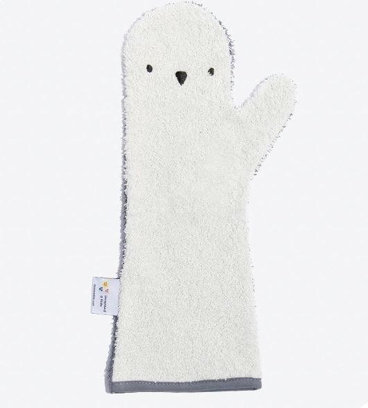 Baby Shower Glove - Washand Pinguin Blauw