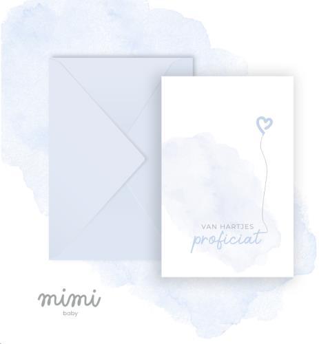 Mimi Baby - Wenskaart Ballon Blauw