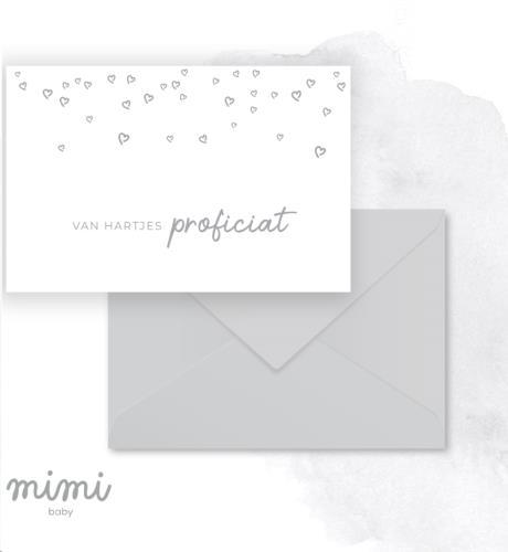 Mimi Baby - Wenskaart Folie Zilver Hartje