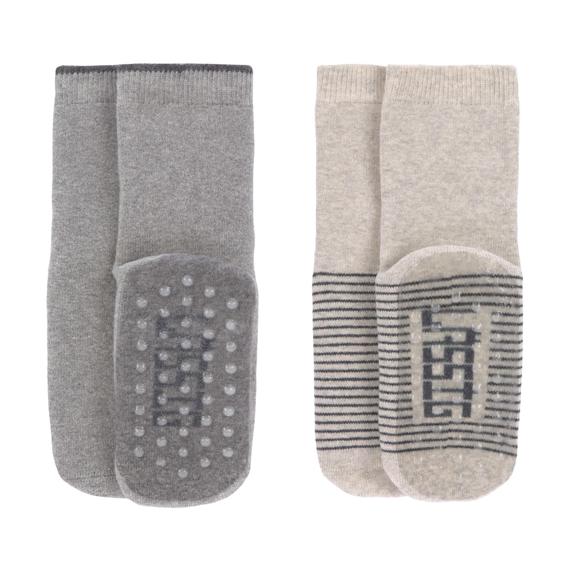 Lassig - Anti-slip Socks 2 pcs. assorted grey/beige, Size: 15-18