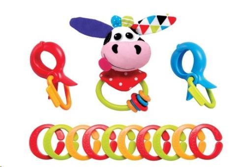 Yookidoo - Rammelaars - Clips Rattle 'N' Links - Cow - One Size