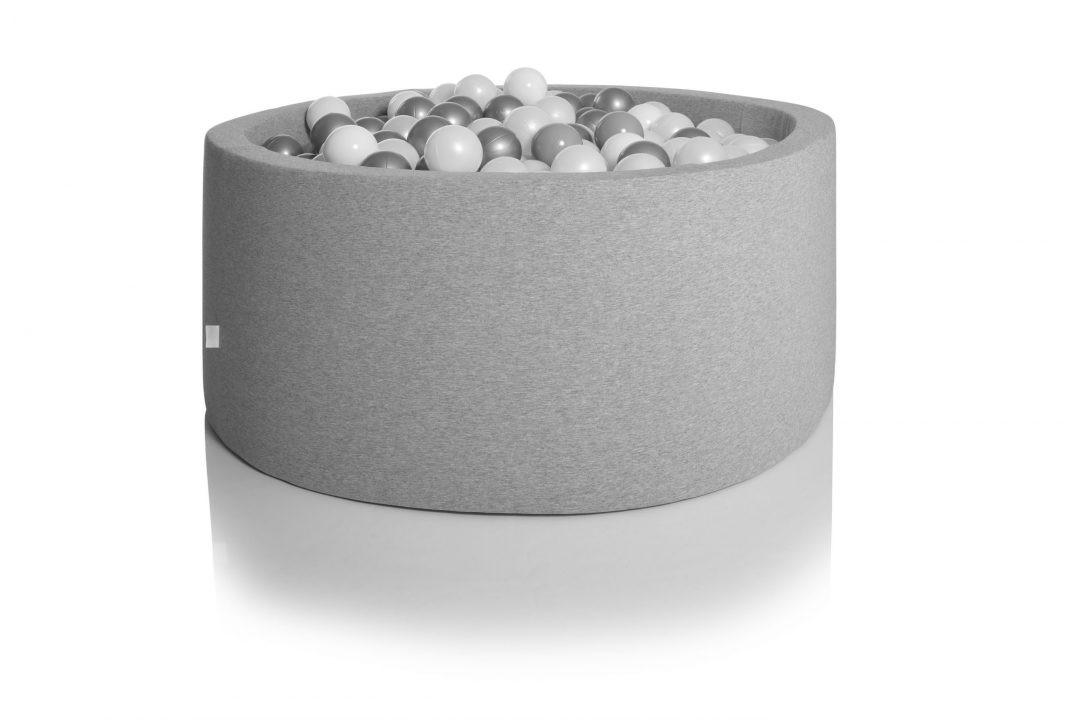 kidkii - Ballenbad rond (200 ballen) Katoen Light Grey 90x40