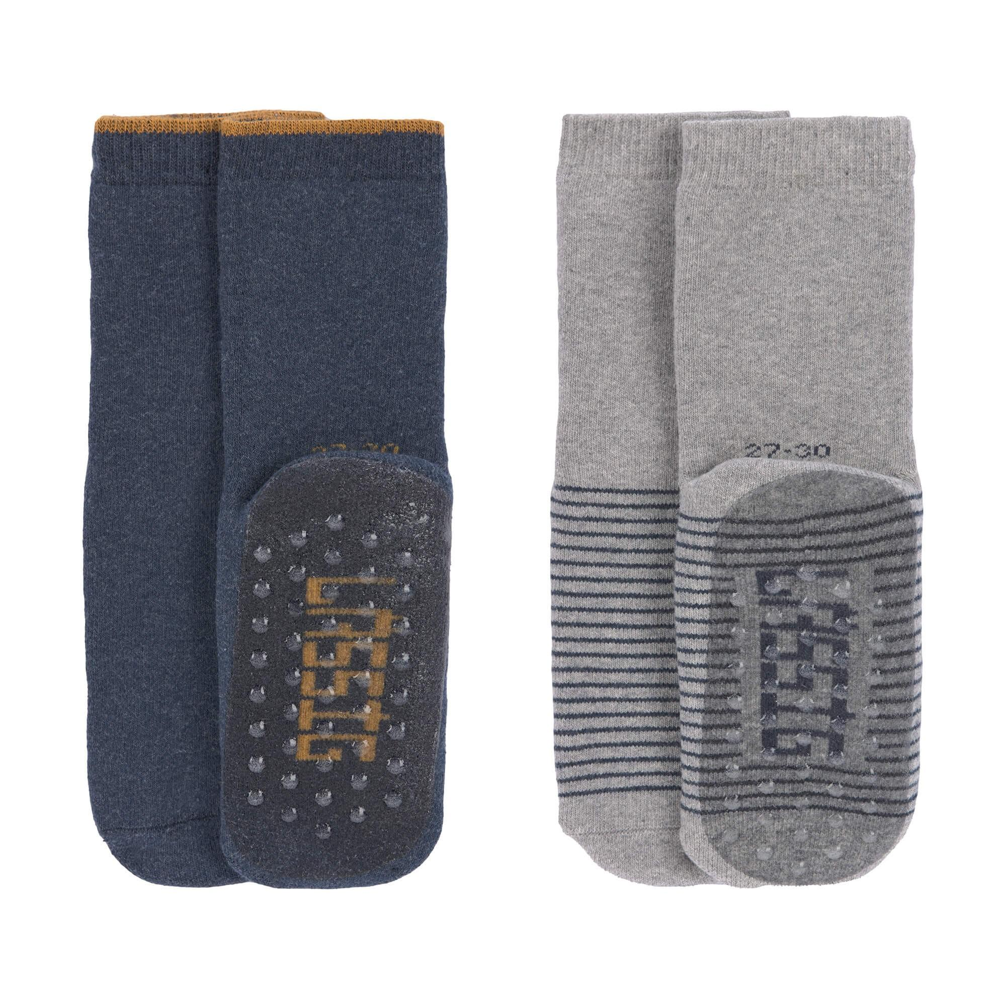Lassig - Anti-slip Socks 2 pcs. assorted blue/grey, Size: 27-30