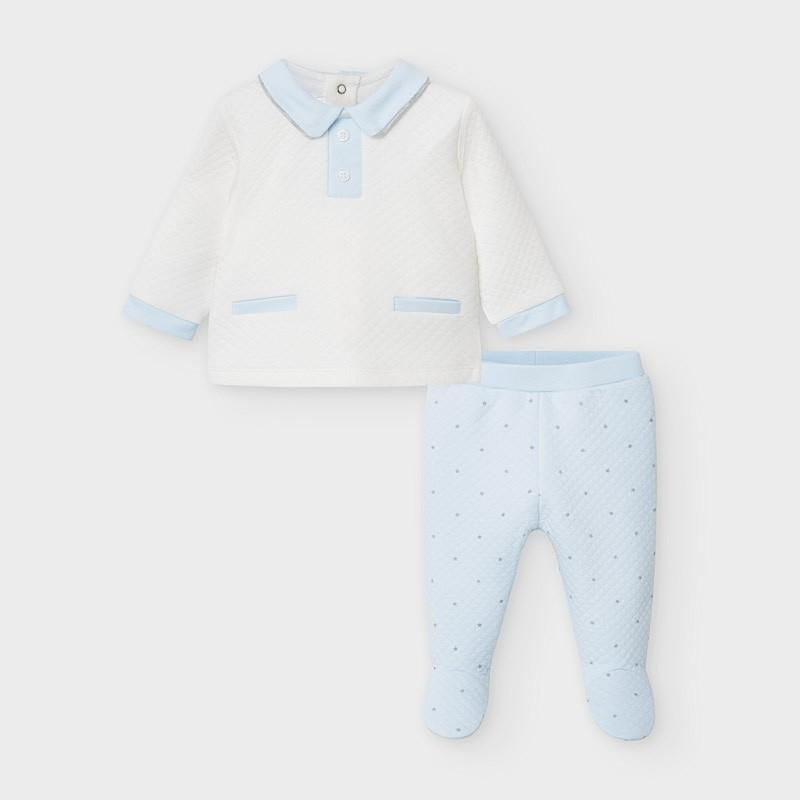 Mayoral - tweedelig babypakje Moon wit/blauw - 2-4M
