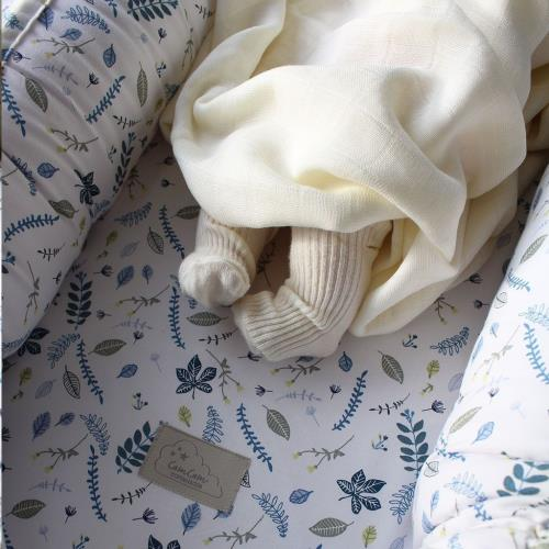 CamCam - Baby Nest W/ Zipper And Lining - Ocs P28 Pressed Leaves Blue