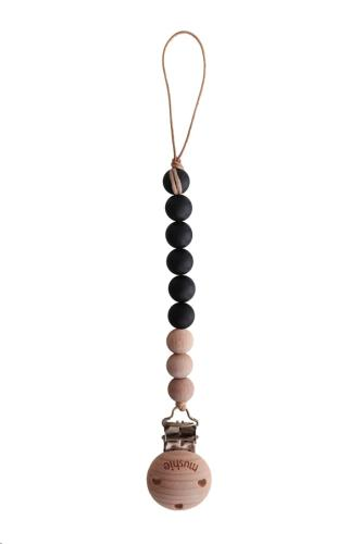 Mushie - Fopspeenketting Cleo Black/Wood