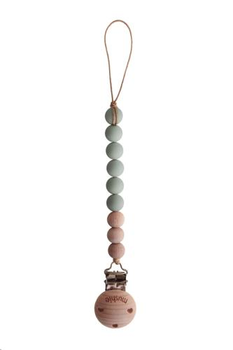 Mushie - Fopspeenketting Cleo Sage/Wood