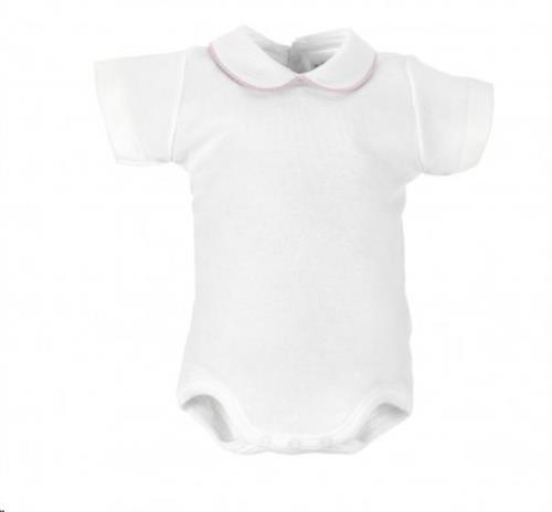 Cambrass - Witte Body Met Wit/Roze Kraagje. Korte Mouw 1M