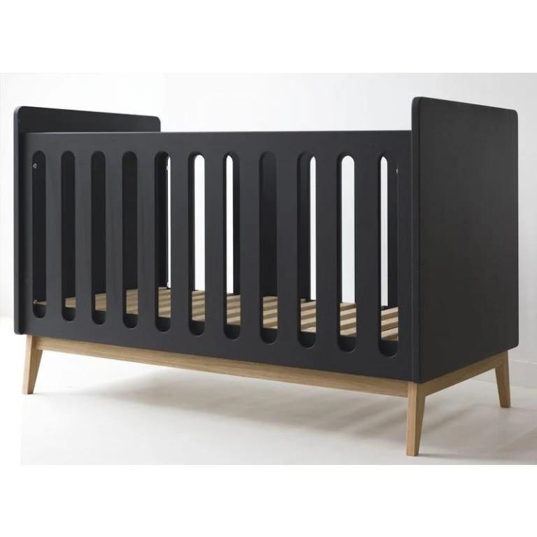 Pericles - Baby Bed 120X60Cm Omvormbaar Tot Zitbank Pure Black