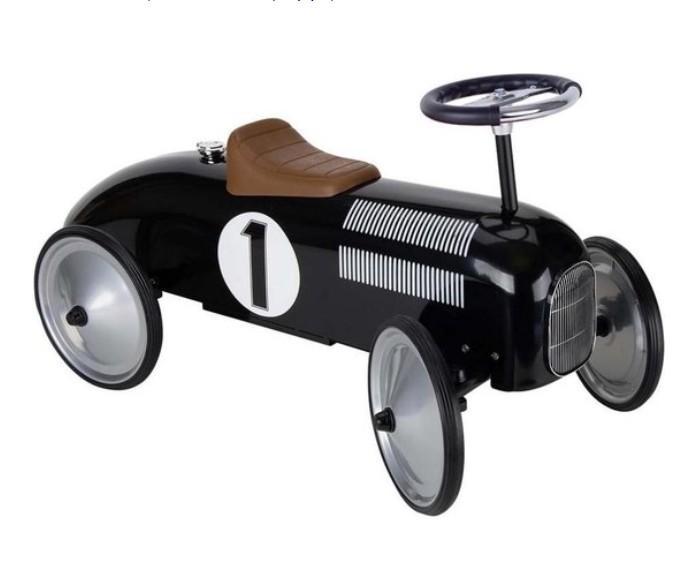 Goki - Loopauto: Zwart Met Nummer 1, vanaf 1 jaar