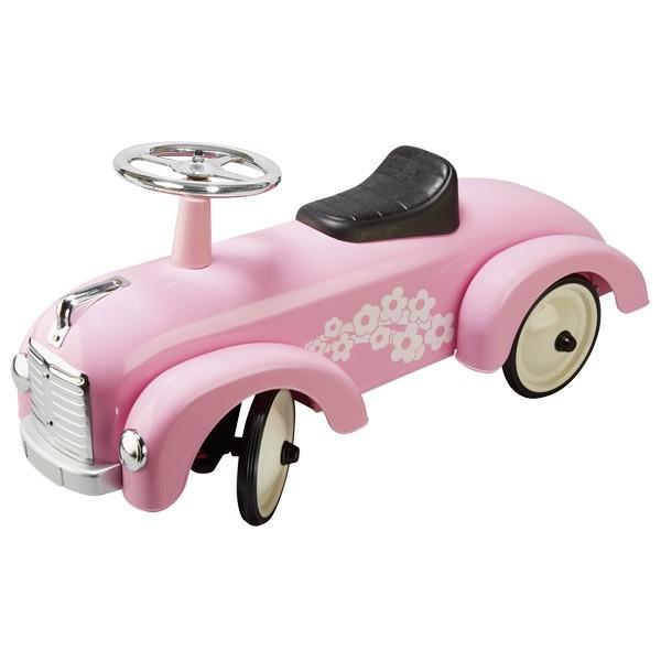 Goki - Loopauto: Roze Met Bloemen, vanaf 1 jaar