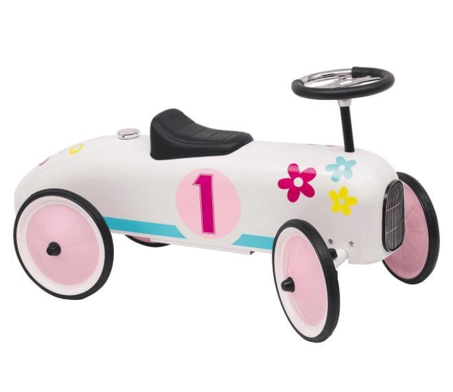 Goki - Loopauto: Nummer 1 wit met bloemen