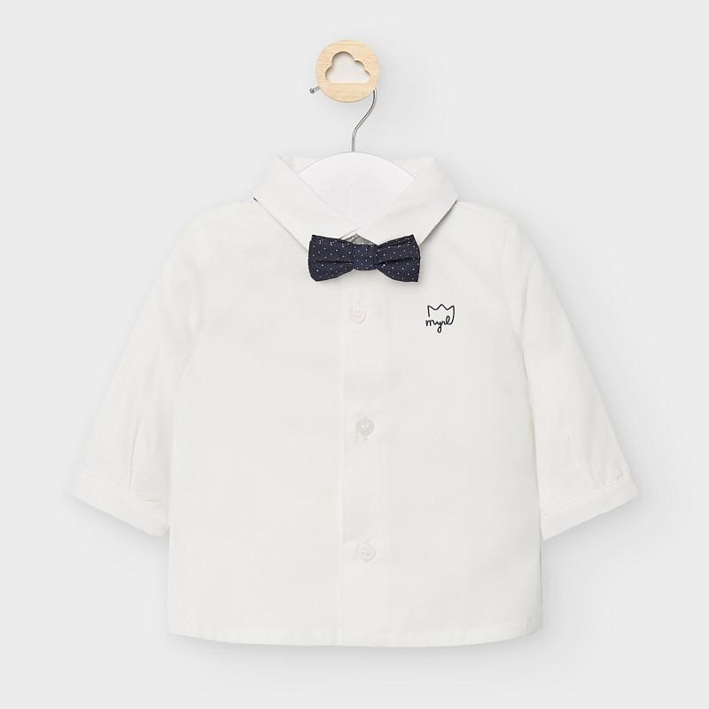 Mayoral - L/s shirt and bowtie Natural - 4-6M
