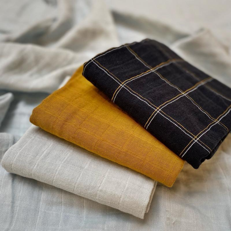 Coco & Pine - Cloth 60X60 Aflie 3 Pack Light Blue/Mustard/Check Tetra Collection
