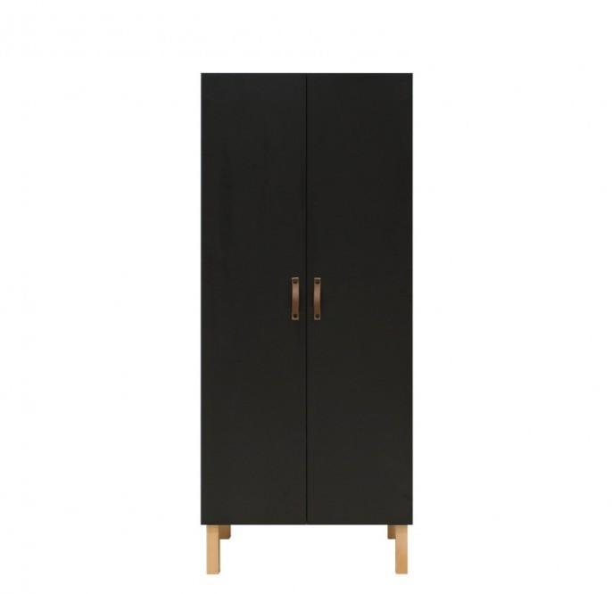 Bopita - 2-deurskast Floris Mat Zwart/Naturel