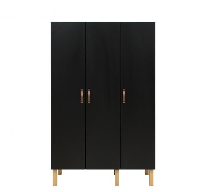 Bopita - 3-deurskast Floris Mat Zwart/Naturel