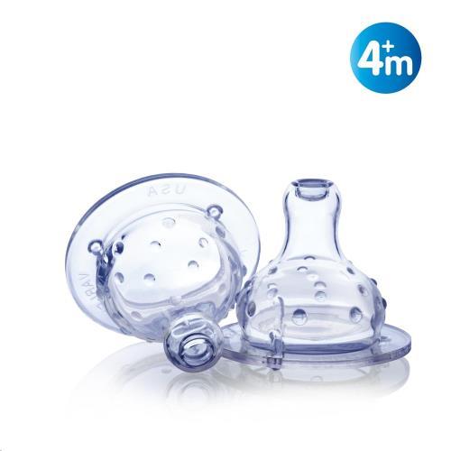 Nuby - Gepatenteerde antikoliek en antilek spenen voor brede halsfles - Vari-Flo - 2st - 4m+
