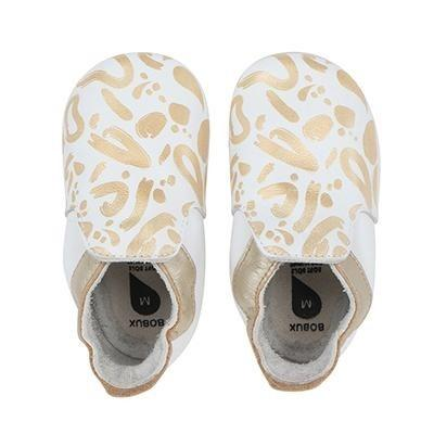 Bobux - Soft Soles - Abstract gold + white - S