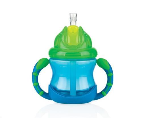 Nuby - Flip-It antilekbeker met handvaten - Blauw - 240ml - 12m+