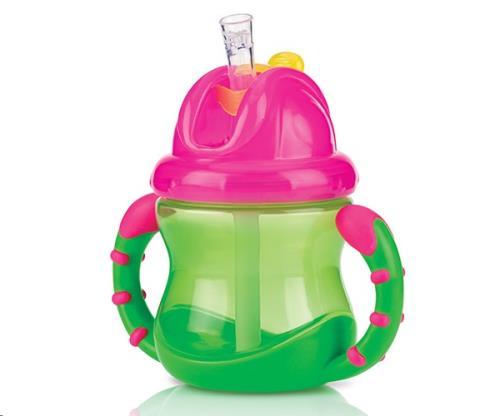 Nuby - Flip-It antilekbeker met handvaten - Groen - 240ml - 12m+