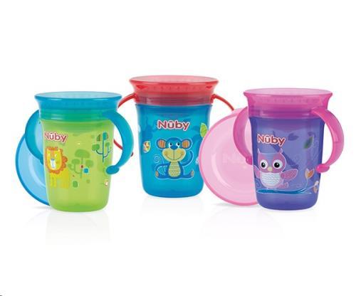 Nuby - 360gr Wonder Cup met handvaten - Aqua- 240ml - 6m+
