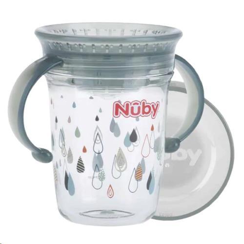 Nuby - 360gr Wonder Cup met handvaten uit Tritan - Grijs - 240ml - 6m+