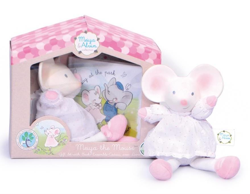 Meiya & Alvin - Muis Meiya / Box Set: Muis Meiya Soft Toy Met Hoofdje 19Cm & Boekje (Franstalig)