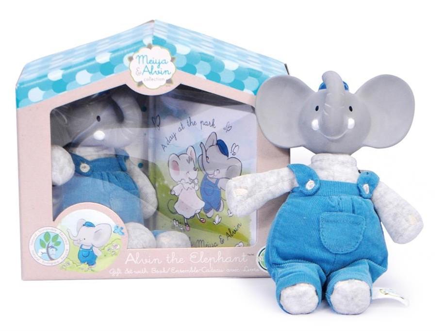 Meiya & Alvin - Olifant Alvin / Box Set: Olifant Alvin Soft Toy Met Hoofdje 19Cm & Boekje (Franstalig)