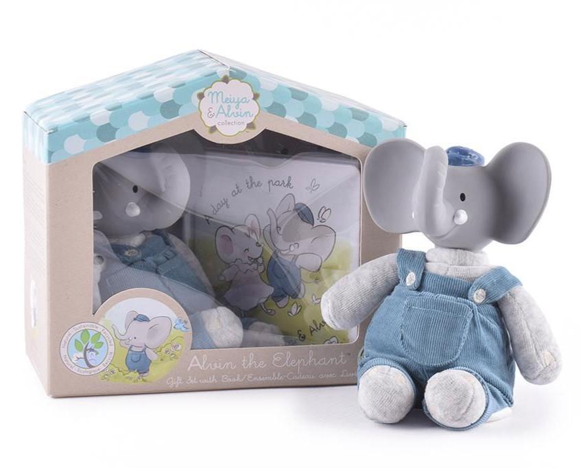 Meiya & Alvin - Olifant Alvin / Box Set: Olifant Alvin Soft Toy Met Hoofdje 19Cm & Boekje (Nederlandstalig)