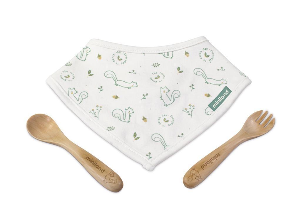 Miniland - Baby - Slab - Bestek Eekhoorn On -The -Go, Hout En Katoen