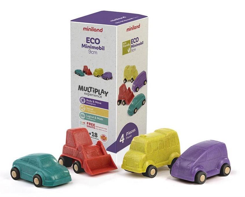 Miniland - Eco - Minimobiel 9cm, 4-delig, vanaf 18M