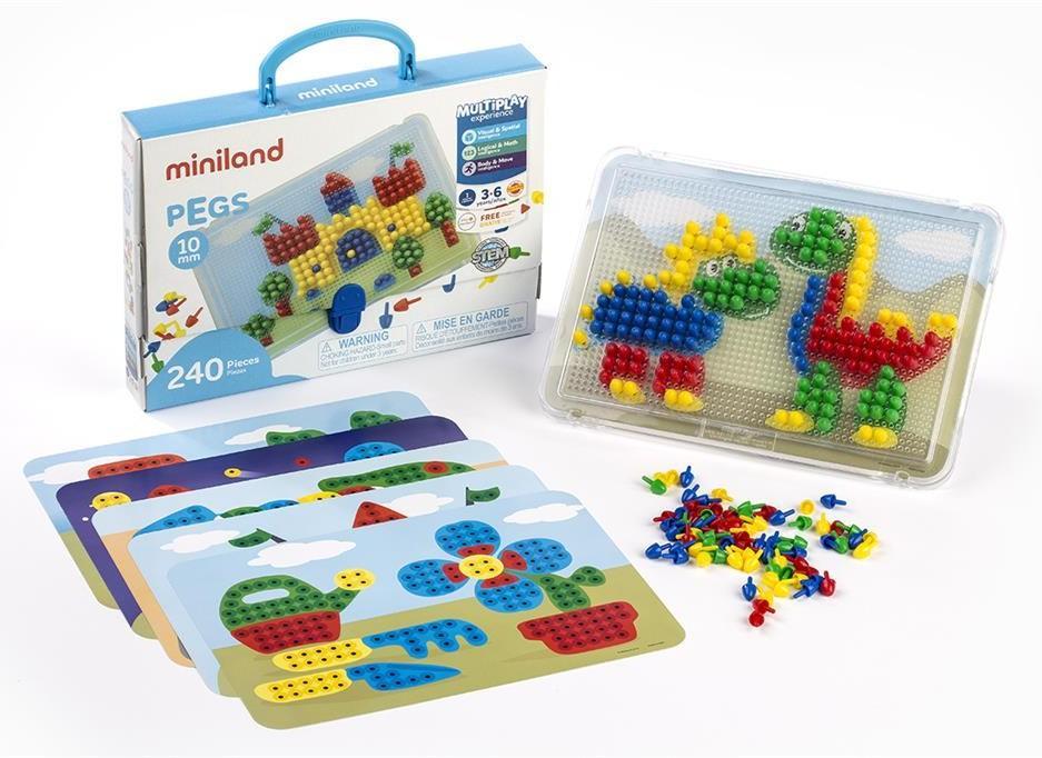 Miniland - Mozaiek - Mozaiek Pegs 10Mm, Met Bord - 6 Werkbladen - 240 Nageltjes, vanaf 3