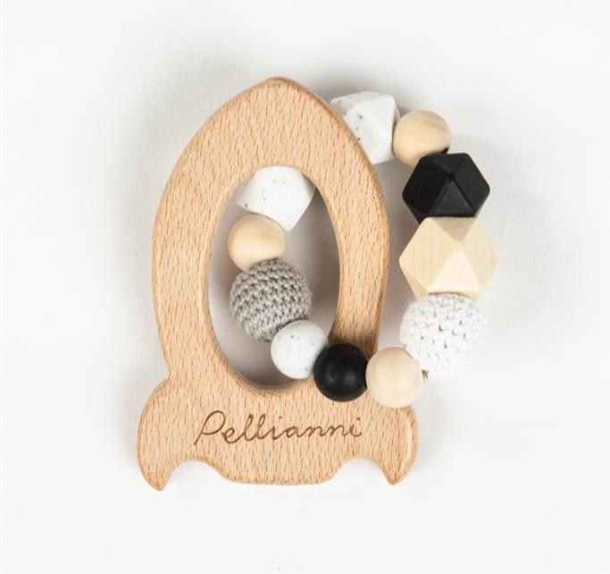Pellianni - Bijtring: Raket Wit/Zwart, 1+