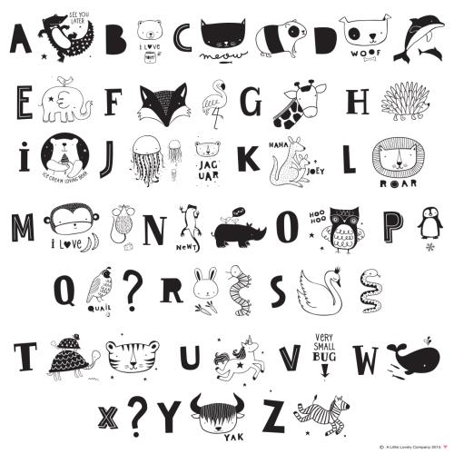 A Little Lovely Company - Lightbox letter set: ABC - black