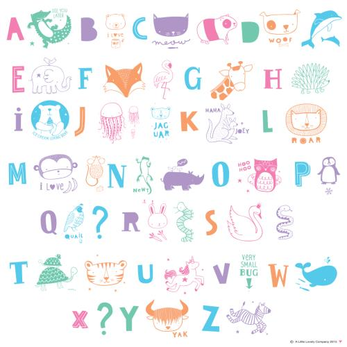 A little lovely company - Lightbox Letter Set: Abc - Pastel