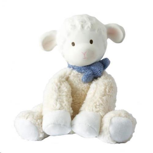 Tikiri - Lila & Lucas: Lammetje Lucas - Soft Toy Met Hoofdje In Natuurlijk Rubber 14Cm. Blauw