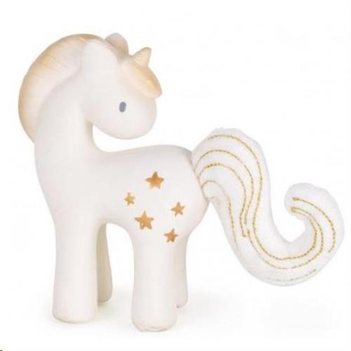 Tikiri - Fairytales: Eenhoorn Shining Stars 13Cm. In Natuurlijk Rubber En Katoen. Met Belletje