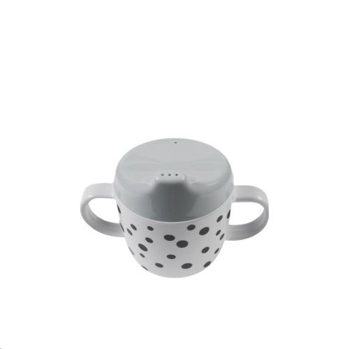 Done by Deer - 2-handle spout cup, Happy dots, grey